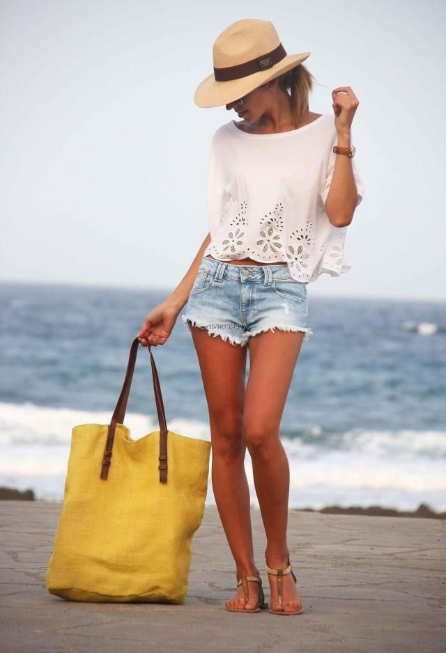 Denim Shorts And Lace White Top