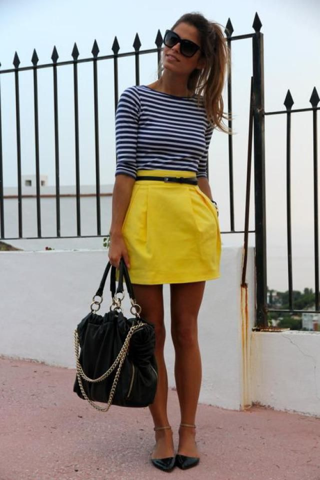 Skirt  Yellow And Striped Long Sleeve Tee