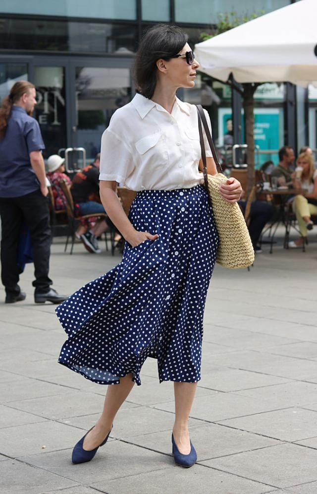Classic polka dot skirt. Great choice for all, especially middle age wonen  polkadot