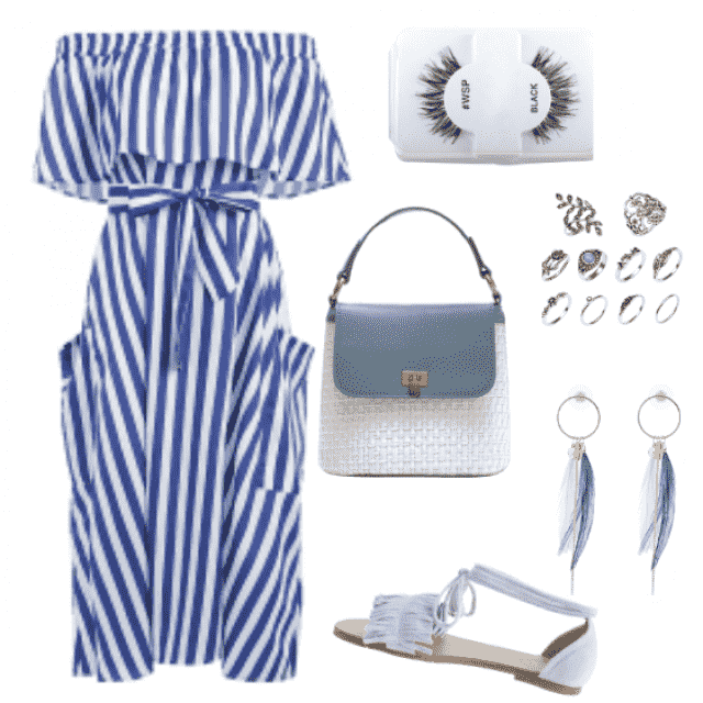 Amazing striped blue dress and blue-white accessories