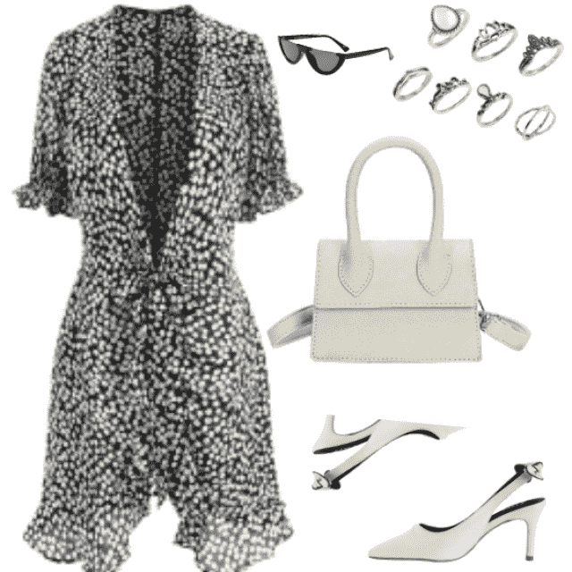Floral Print Mini Wrap Tea Dress in black color and white sandals and bag