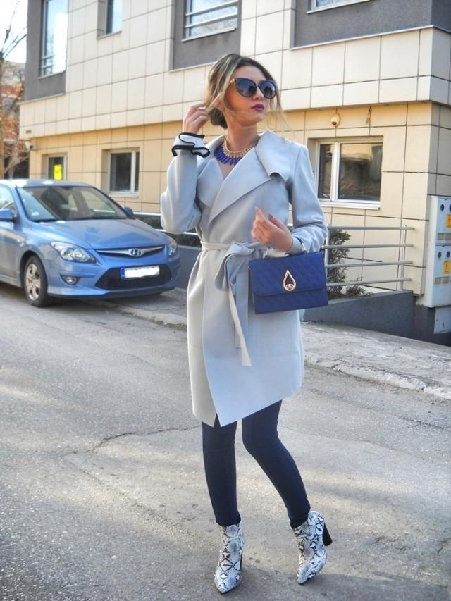 Love this grey coat from  :) and  booties :)
