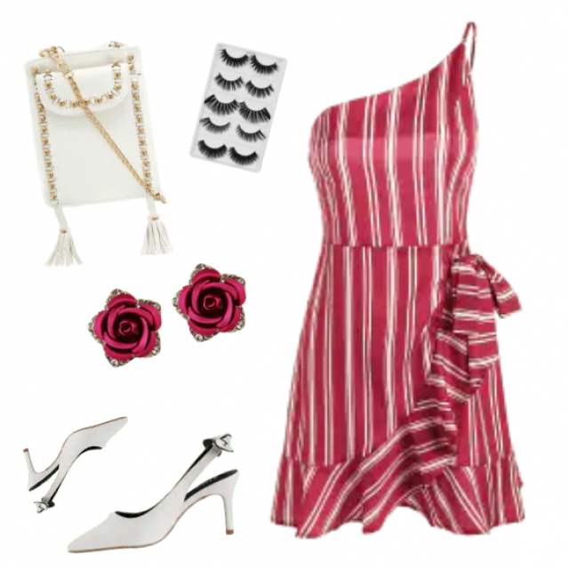 Beautiful striped midi dress and white accessories like sandals and bag