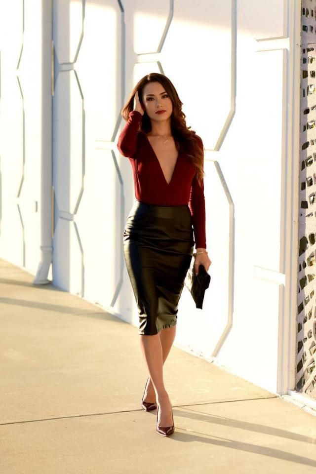 Leather Skirt  Black And V Neck Knitted Ribbed Top Wine Red