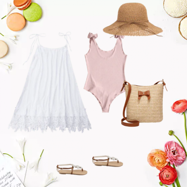 Love this white babydoll over flesh coloured  swimsuit , bag for sunscreen  and hat to go with my sunnies