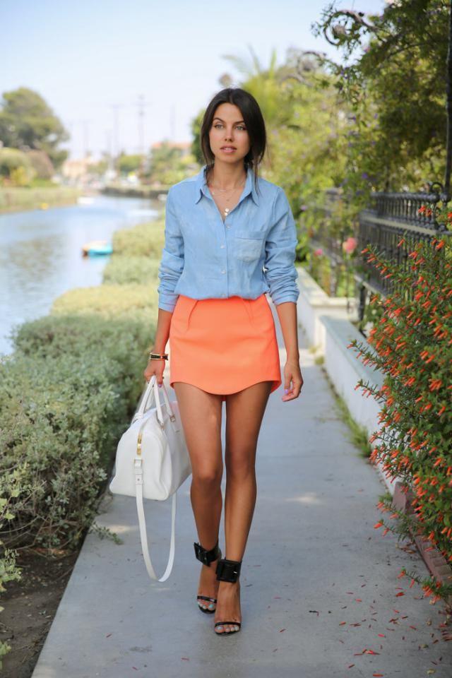 Skirt Orangepink And  Shirt  Blue