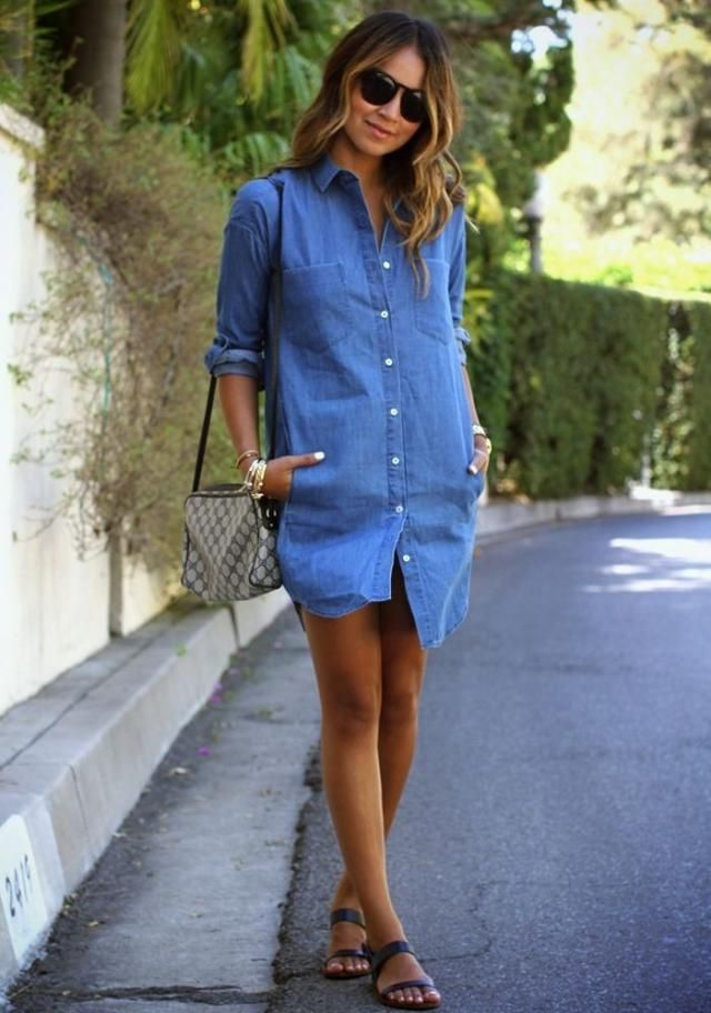 Button Up Pockets Shirt Dress  Steel Blue