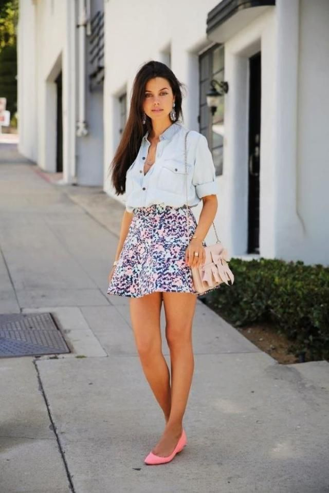 Mini Skirt And Shirt With Pockets  Blue