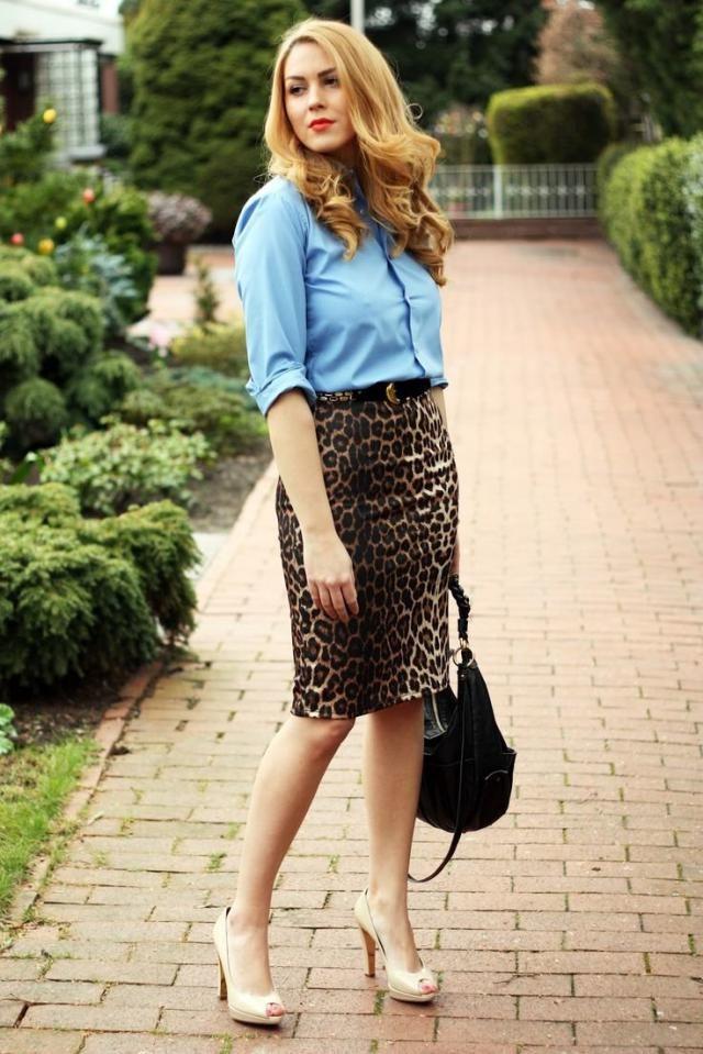 High Waist Leopard Skirt And Buttons Front Shirt  Blue