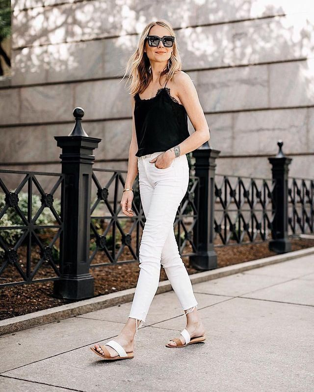 Lace Panel Cropped Top Black And Jeans  White