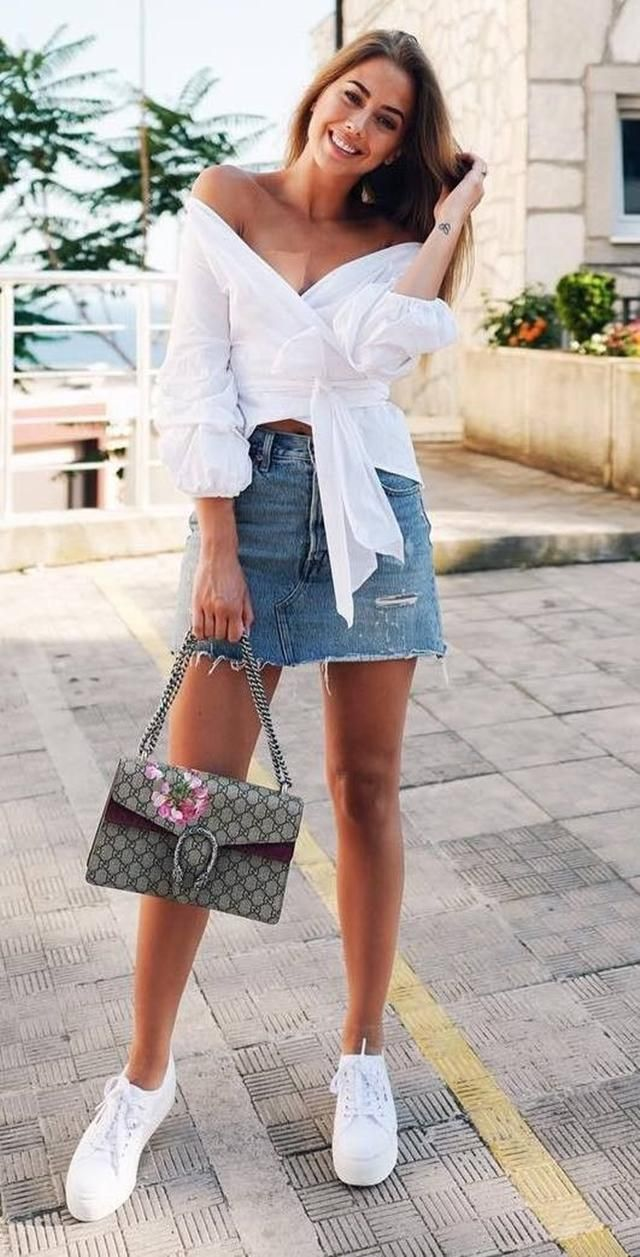 Denim Mini Skirt  Jeans Blue And Blouse White