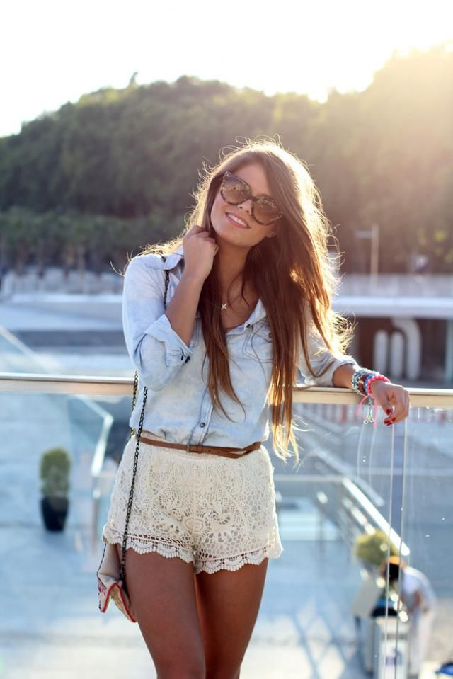 Shirt  Jeans Blue And Lace Overlay Wrap Shorts  White