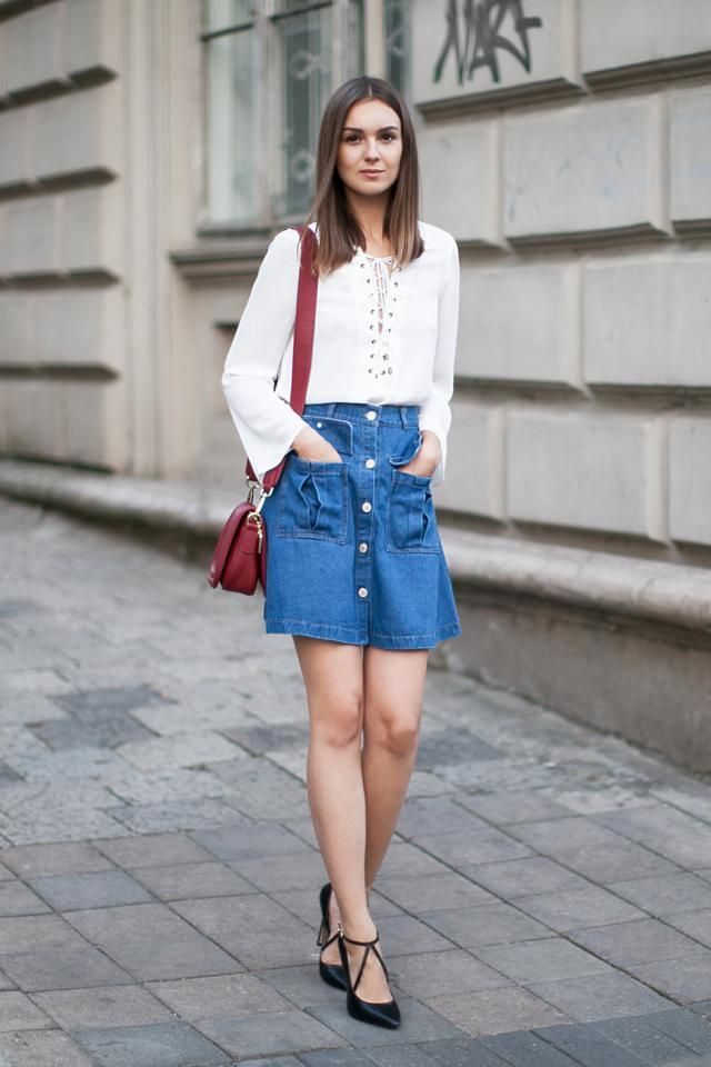 Denim Skirt  Blue And Cropped Ribbed Lace Up Top White