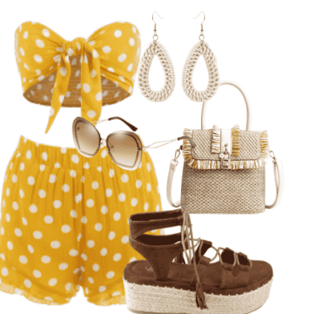 Perfect polka dot set with handbag and sandals