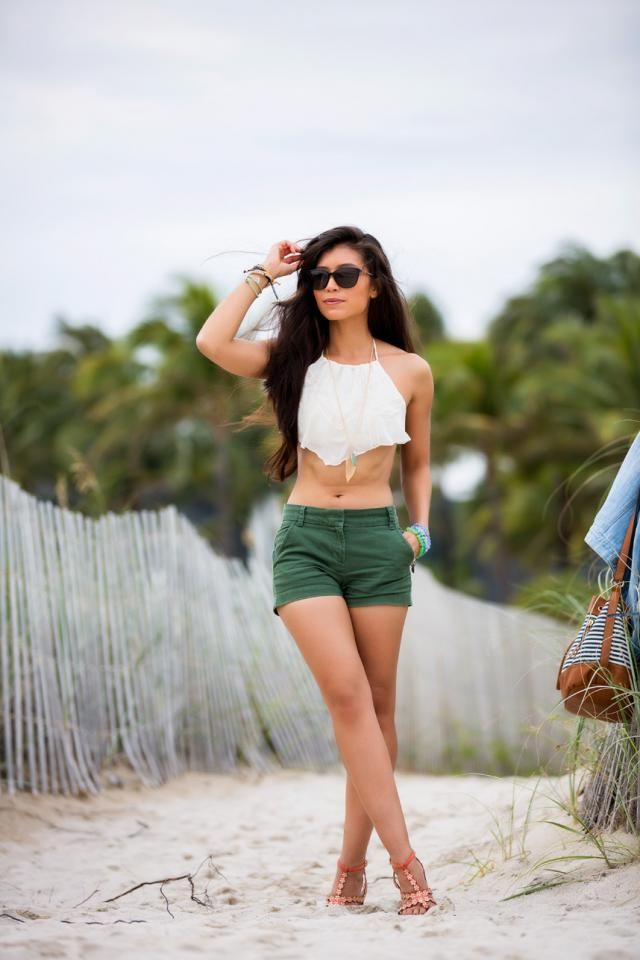 Shorts Blue Green And Tank Top White