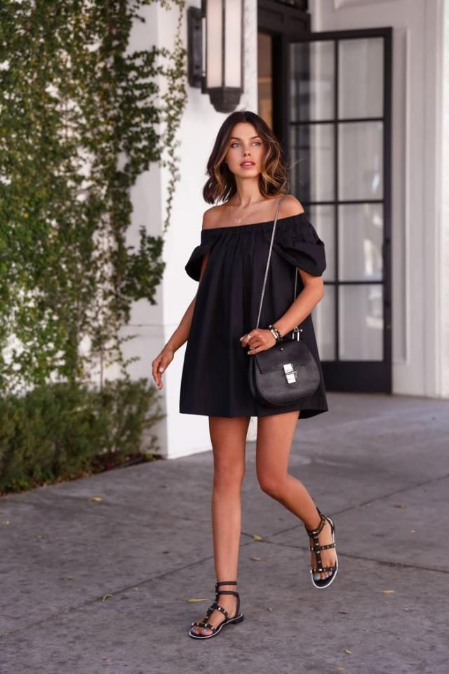 Off The Shoulder A Line Little Black Dress