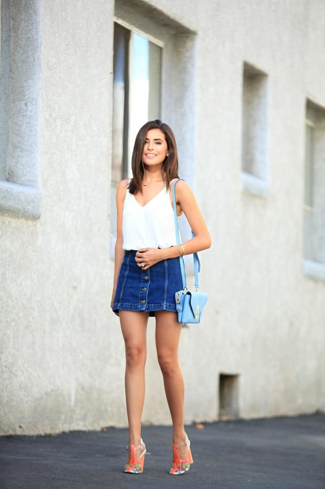 Denim Skirt Blue And Tank Top  White