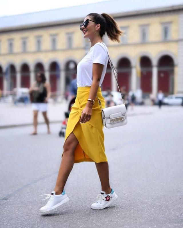 Skirt Yellow And White T-shirt