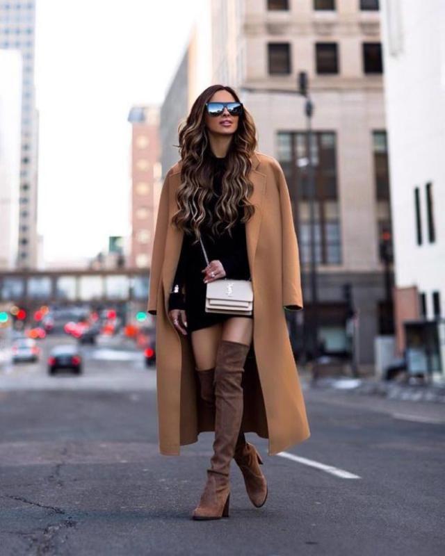 Dress Black And Long Coat Light Brown