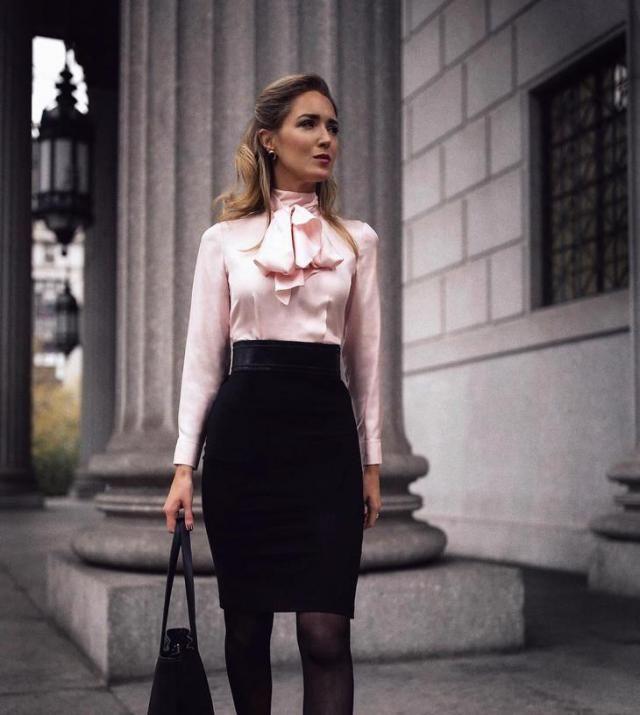 Zipper Back Slit Bodycon Skirt  Black And Blouse