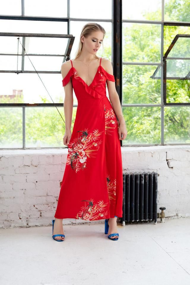 Floral Red Maxi Dress