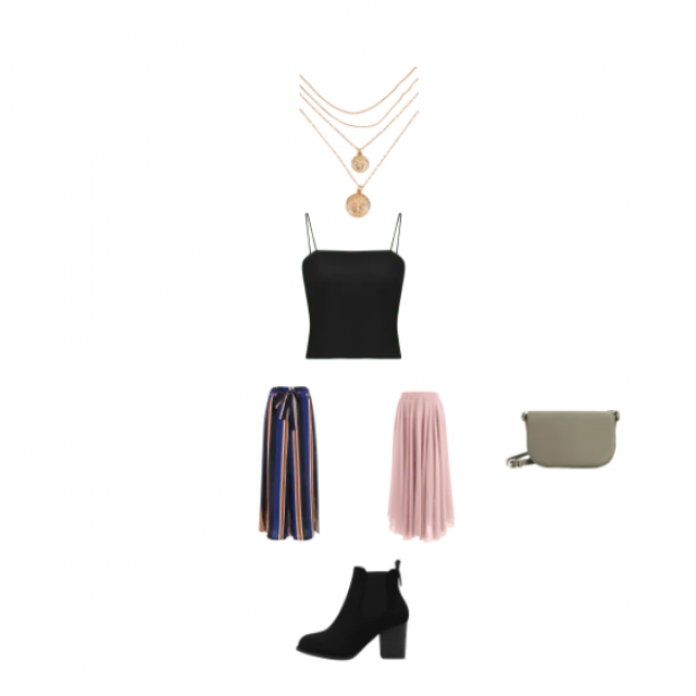 A cute plain black strappy cami top, with lovely striped trousers or to make it more dressy,  a midi floaty light pink …