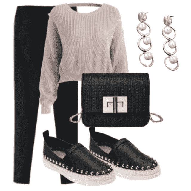 Black pants and sweater perfect for autumn