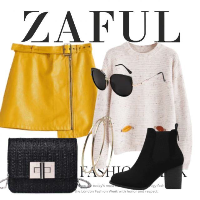 Leather yellow skirt and sweater beautiful combination