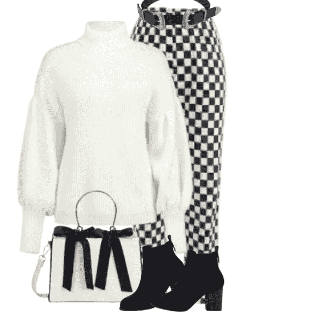 So beautiful combo with the black and white pants and white sweater