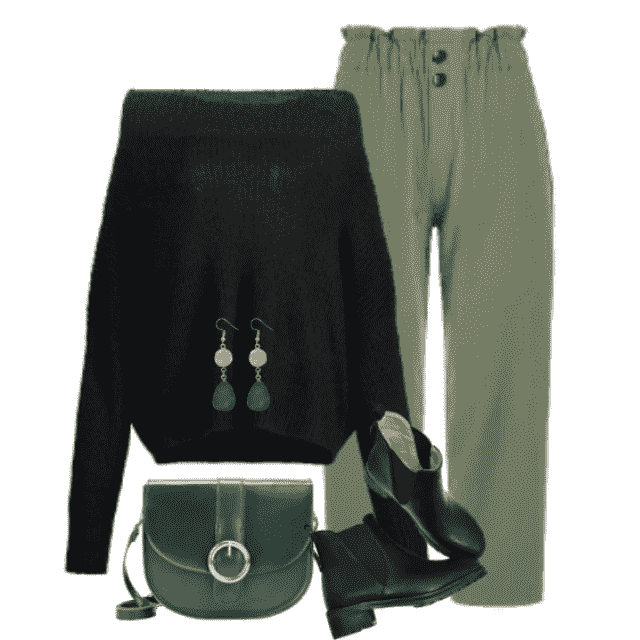 Fabulous combo with a black knitted sweater and green pants