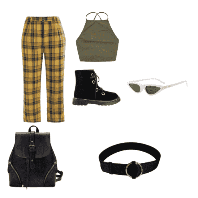 this outfit is more for a boho style , the pants will make your hips pop and matches with the olive green top