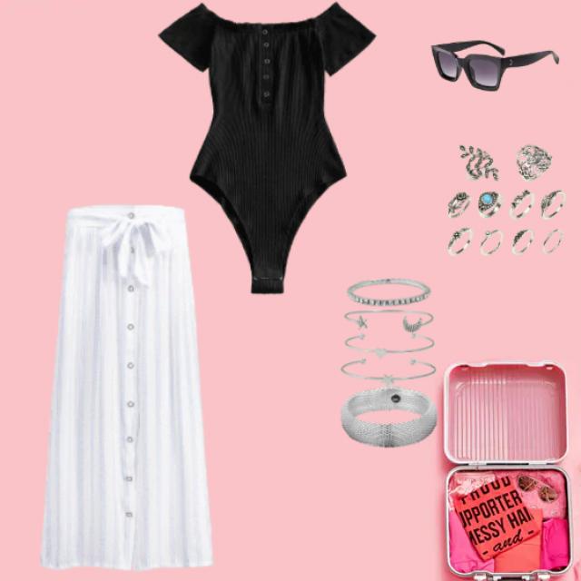 Evynne Labeau wears white zaful maxi dress with Zaful accessories