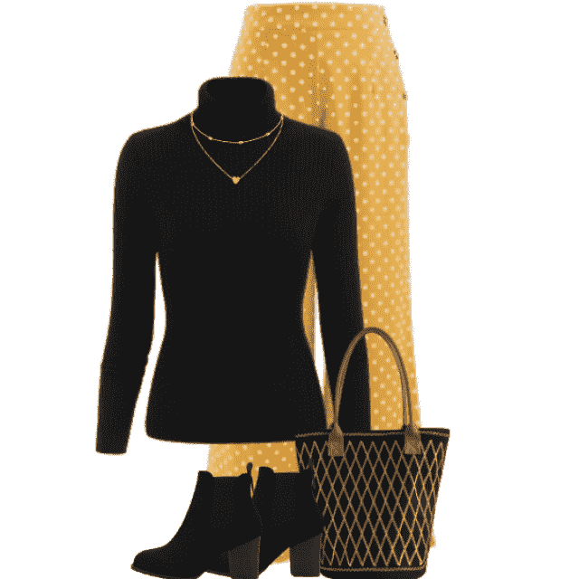 Stylish outfit - feminine and elegant necklace - perfect with the black sweater