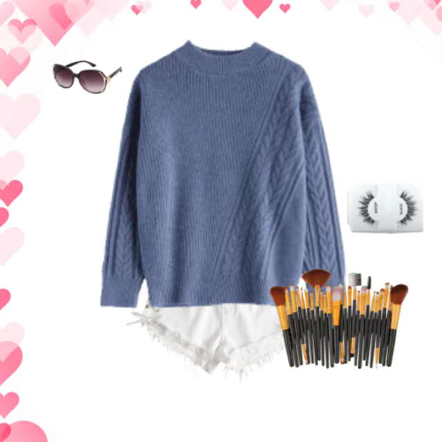 Evynne Labeau  wearing grey sweater