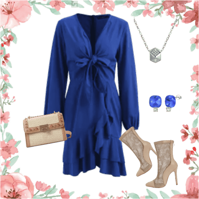 Feminine blue dress comes to expression with another color, like beige. Together they make a lovely styl…