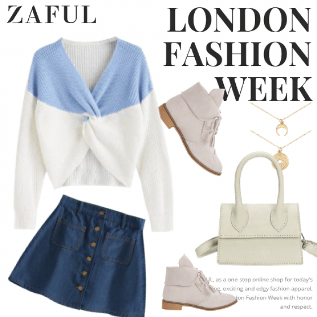 Amazing fall outfit in white and blue!