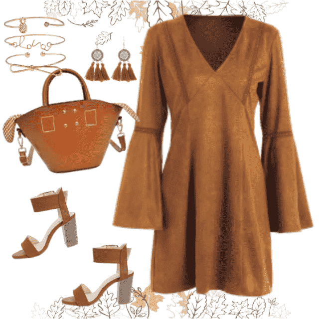 Amazing brown dress in combination with tote bag and elegant sandals makes wonderful Fall look. You …