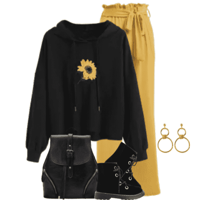 Beautiful casual look with a yellow pants and a  hoodie with a Sunflowerprint