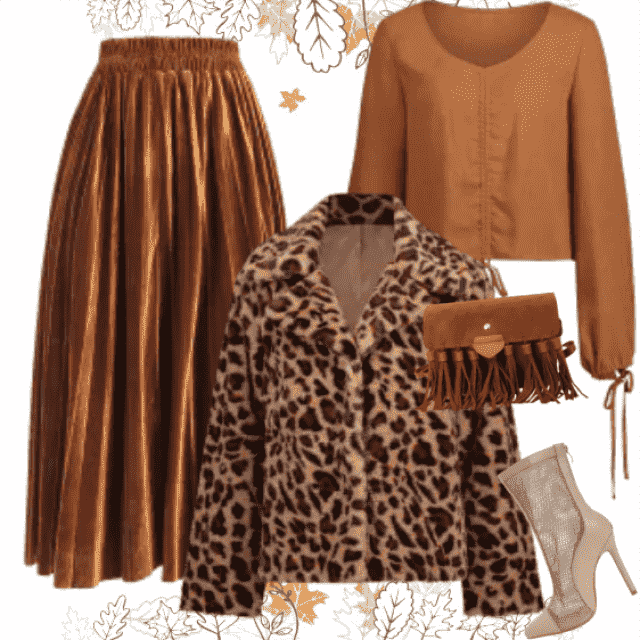 Wonderful jacket in leopard print will make a perfect match with warm brown colored long skirt and blo…