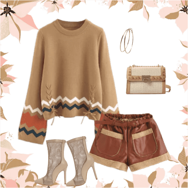 Beautiful beige sweater with interesting zig-zag lines and a faux leather shorts makes a wonderfu…