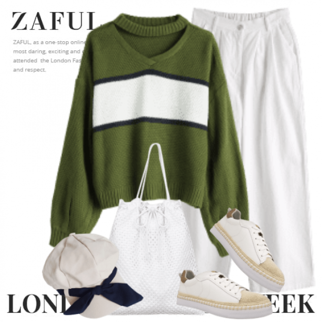 Sportive combo with white pants and a green sweater