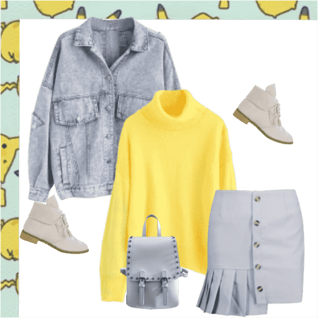 A gorgeous look created of soft yellow turtleneck sweater and light blue mini skirt. The look is even bet…