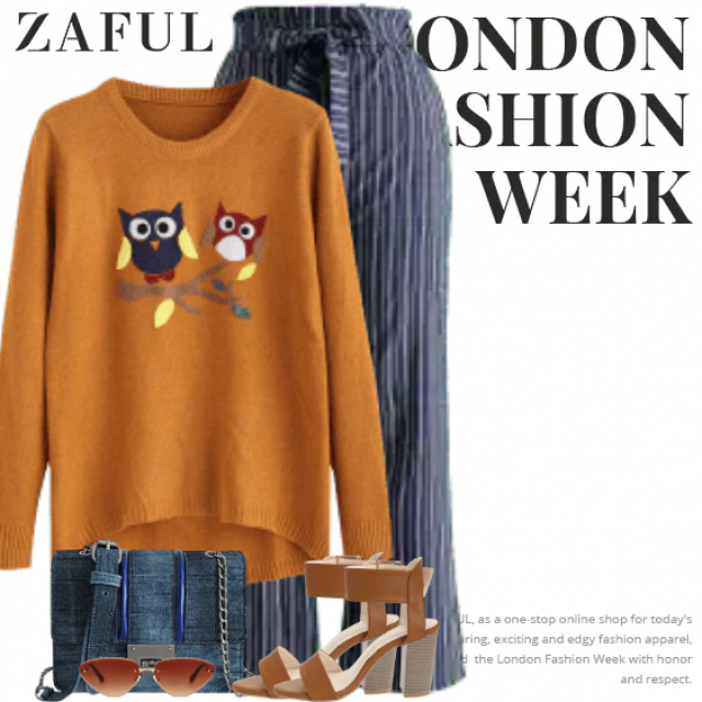 Trendy autumn sweater with owls applications and a striped pants