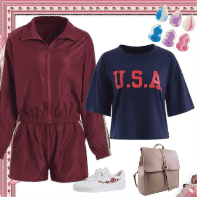 Cute sportswear with shorts, long sleeved top and t-shirt is completed with sneakers and the backpack…