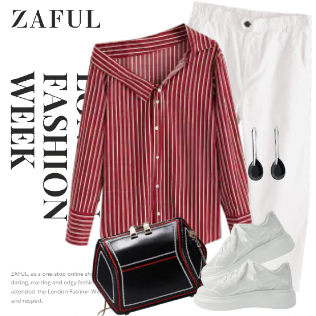 Fabulous and fresh combo with the white pants and the red and white striped blouse