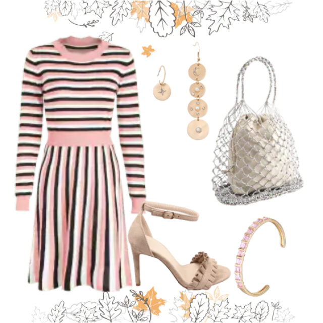 Casual look with cute striped dress and sandals