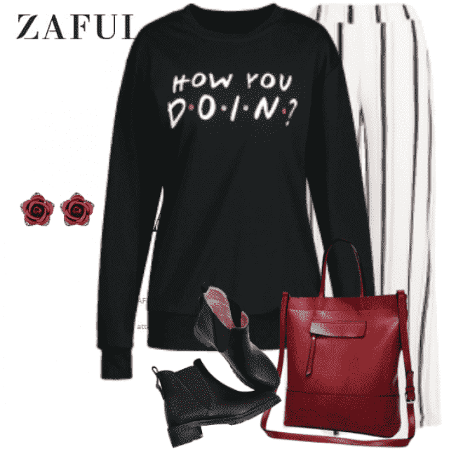 Great and stylish casual look - with so sweet flower earrings. Get the look!
