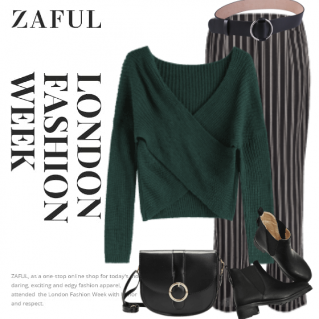 Chic and trendy sweater here - in addition to the striped pants