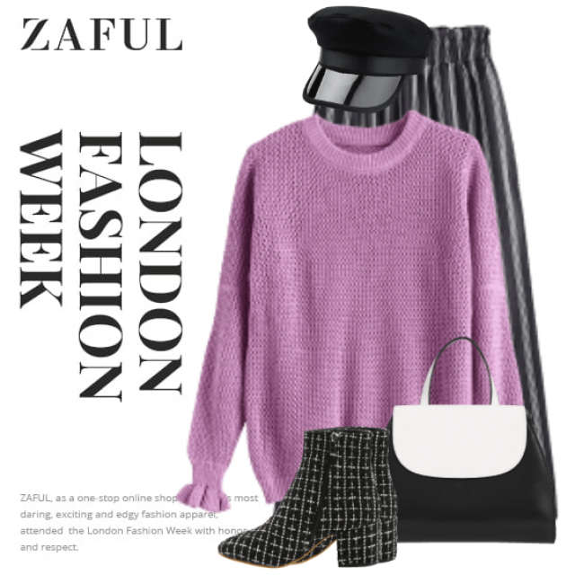 Beautiful and cool style with the black hat - perfect combo with the knitted sweater and the striped pants