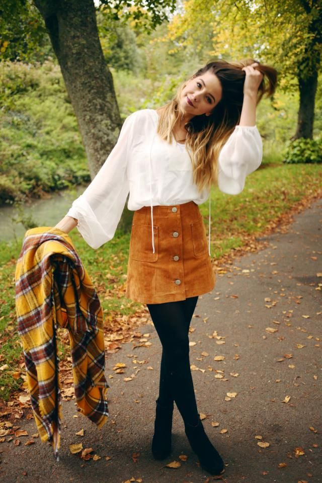 Button Front Pockets Mini Skirt Brown And Balloon Sleeve Off The Shoulder Blouse White Colors in the sign of autumn  …
